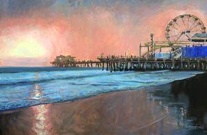 """Santa Monica Pier In the Evening"""