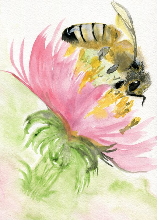 Bee on a Flower - Art Aroma by Mehak Mittal