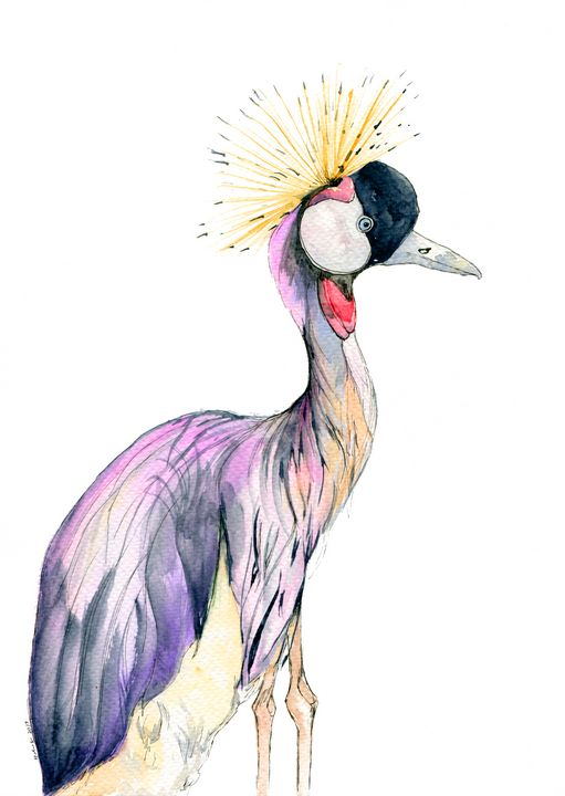 African Crowned Crane - Art Aroma by Mehak Mittal