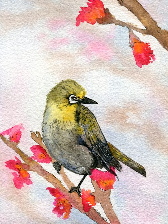 Little Yellow Bird - Finches - Art Aroma by Mehak Mittal