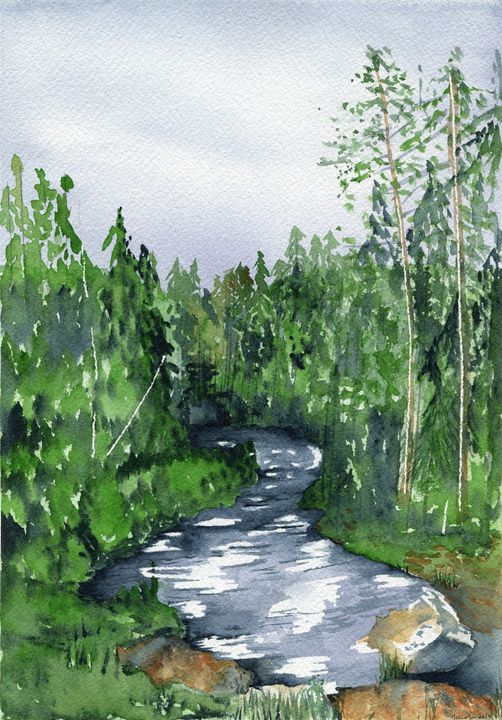 Creek in the woods - Art Aroma by Mehak Mittal