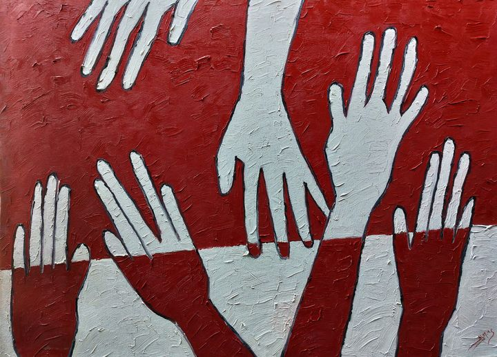 Keep still red & white & be united - Almas Gallery