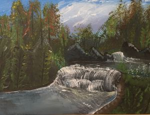 Water fall in acrylic