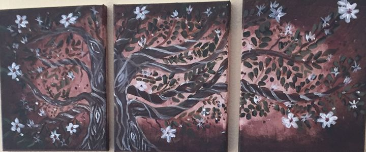 Twisted  tree blossom painting - My art book