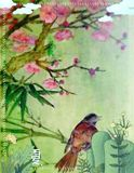 bird painting on Chinese rice paper