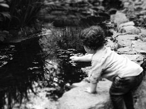 Boy and pond