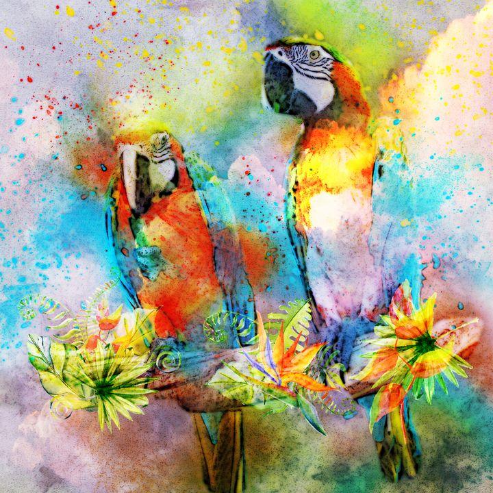Watercolor Parrots - DigiScrapCafe