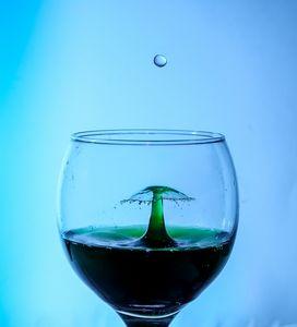 Waterdrop in a wineglass
