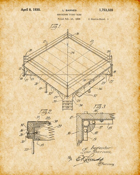 Vintage Boxing Ring Patent Print - Crystal Crafts It
