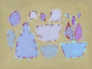 still life with bottle and bowles