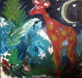 Giraffe with stars Christmas night