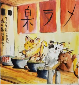 Family of Cats eating Ramen