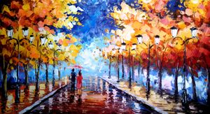 Romantic Lovers Rain Fall