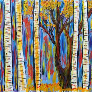 colorful birch and black