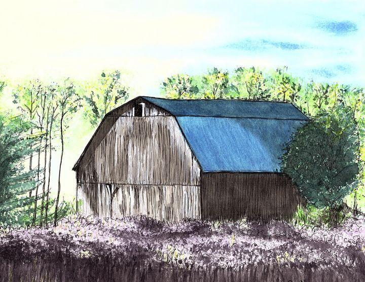 Blue Roof Barn - Nancy Austin Art