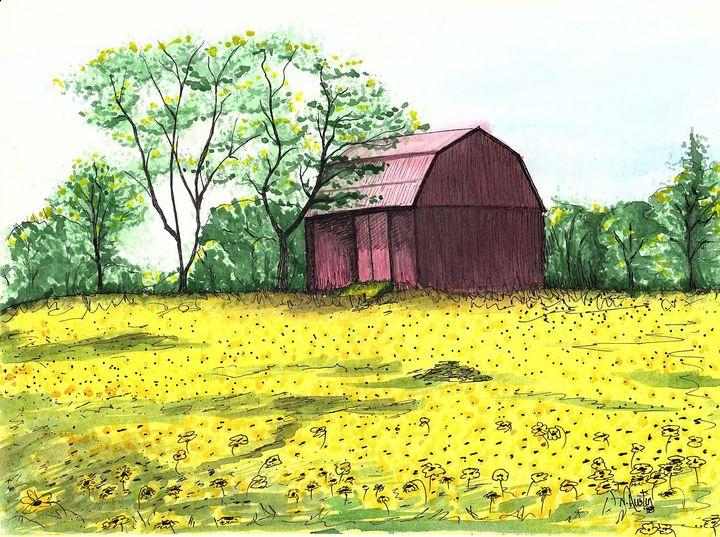 Sunflower Barn - Nancy Austin Art