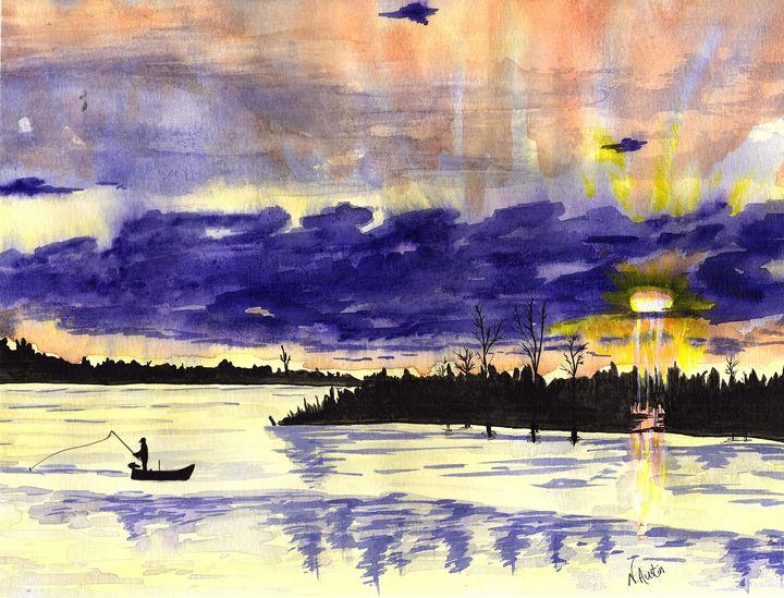Sue's Lake Sunset - Nancy Austin Art