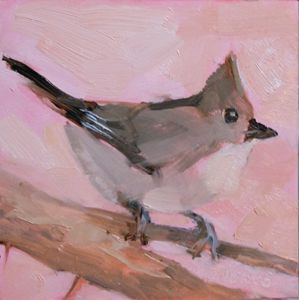 October's Grey Titmouse - Brande Arno Daily Small Paintings