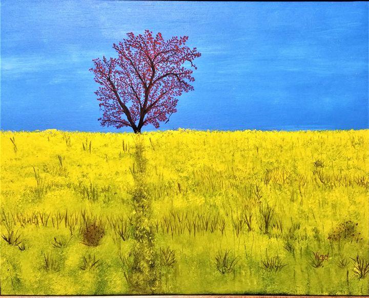 Tree in yeloow flowers field - Paint by Vlad