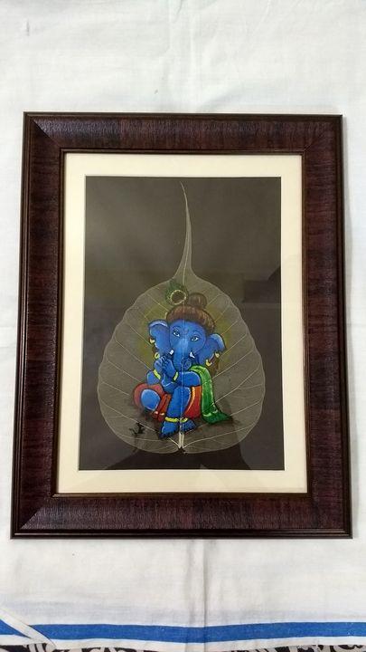 Ganesha in Krishna Avatar - Ganesha on peepal leaf