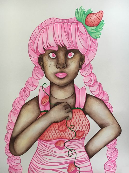 Strawberry Delight - Madison Wallace's Watercolor Portraits