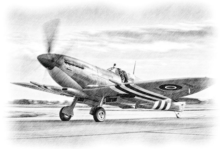 D-DAY RAF SPITFIRE - MILITARY PHOTO PRINTS  UK