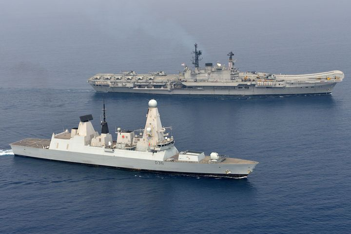 HMS Hermes ,HMS Defender - MILITARY PHOTO PRINTS  UK