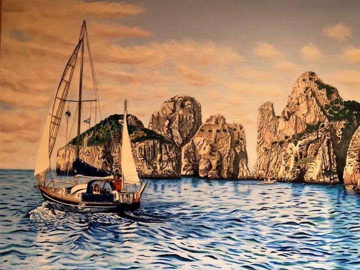 Sail near Faraglione Rocks Capri - My JP Art