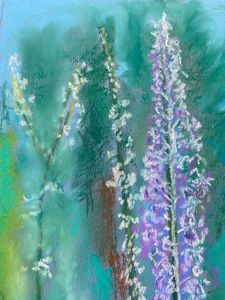 Delphiniums in the forest - Tom Gaudreau Art