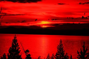 Red Sunrise Over Lake Yellowstone