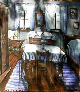 Antique cabin interior