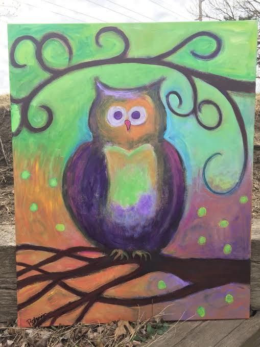 Colorful Whimsical Owl Painting - Tending the Heart With Art