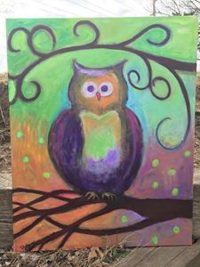 Colorful Whimsical Owl Painting