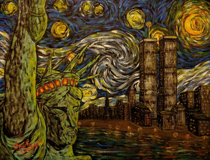 NYC Starry Night: Twin Towers - Jack Lepper