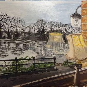 Original oil painting Pub Window