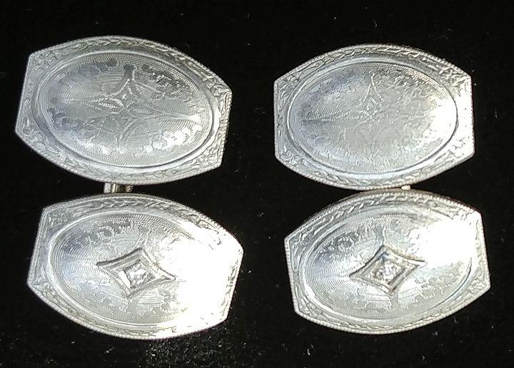 Diamond Cufflink14k WGold.For Sale - Van Zandt