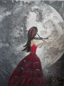 Gothic Violin Woman by Moonlight